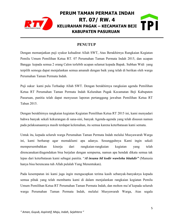 Laporan Pertanggungjawaban Pemilihan Ketua Rt 7 Taman Permata Indah Taman Permata Indah Rt 7 Rw 4